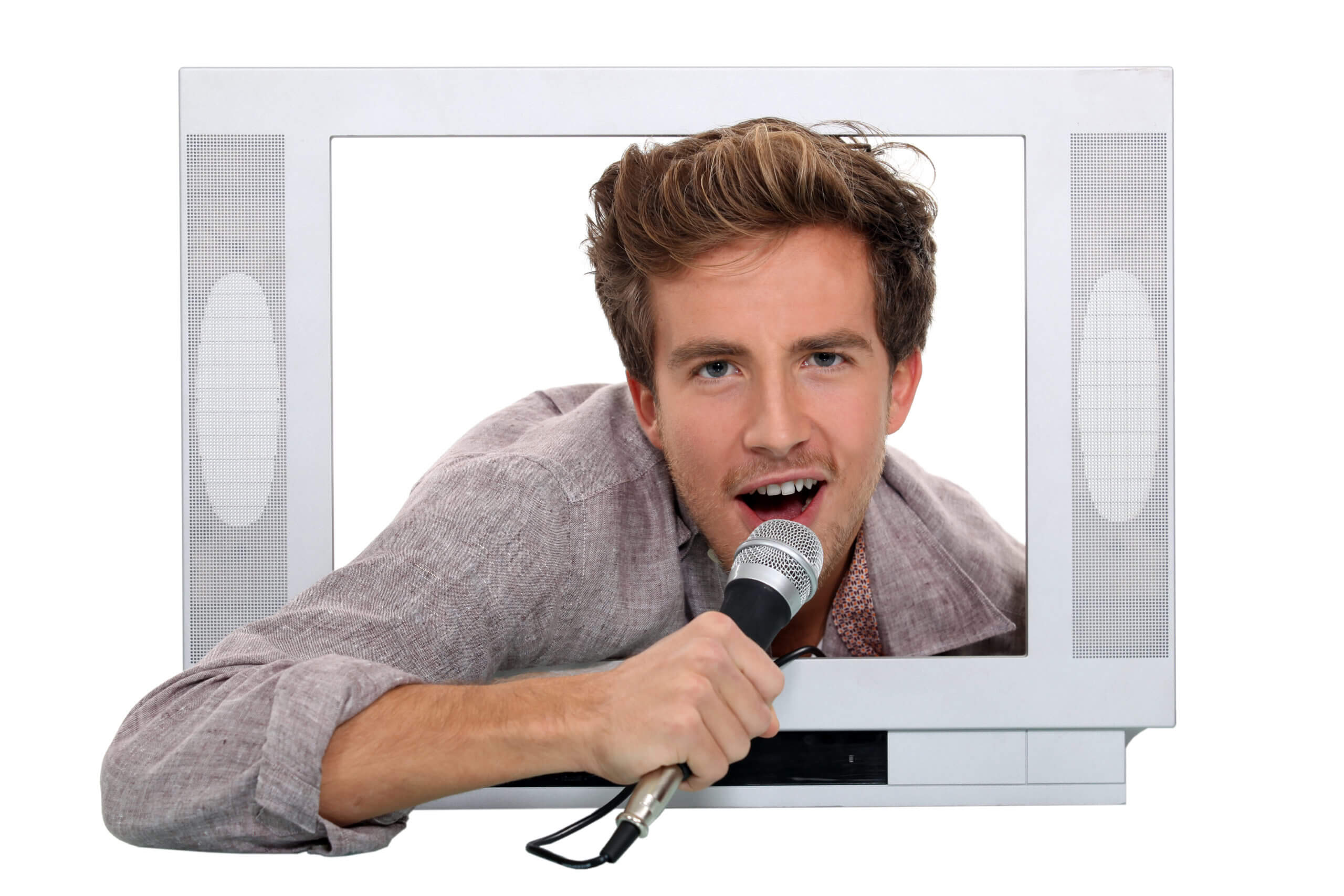 Man singing inside television